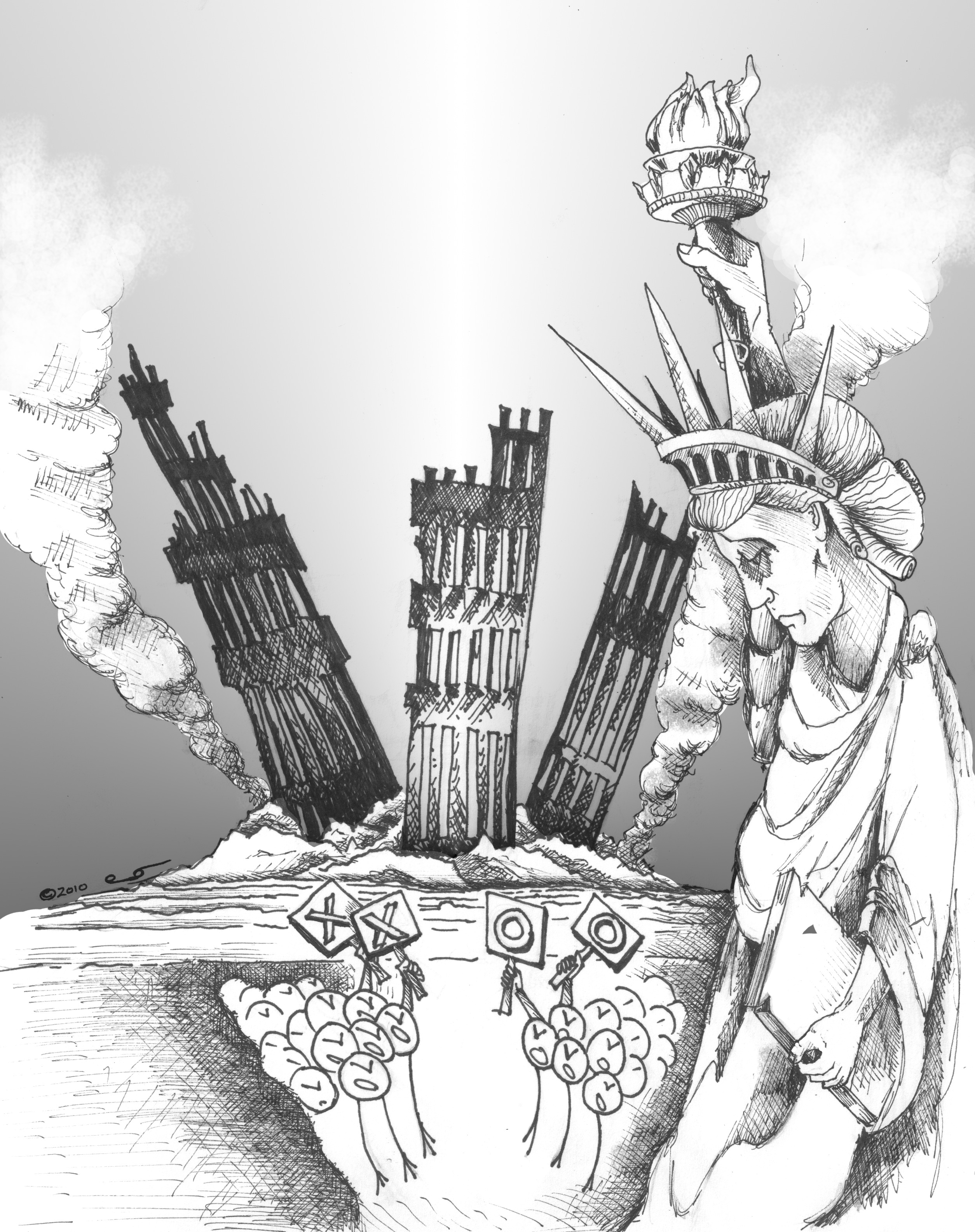 Political cartoon in Remebrance of 9/11:  Liberty Weeps by Kaveh Adel, Iranian American Cartoonist