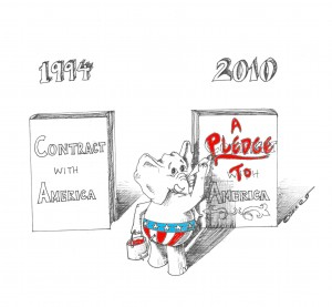 A pledge or contract with America? Political cartoon by Kaveh Adel