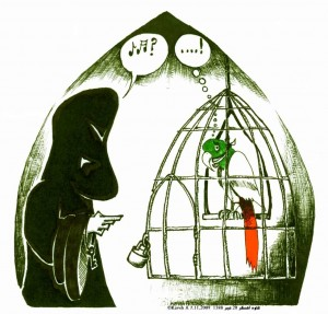 The Molla and the Parrot political Cartoon about Iran