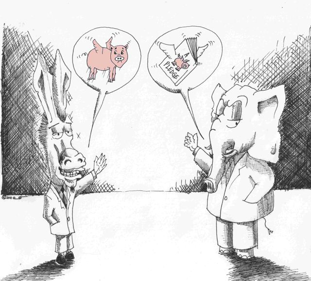 Political Cartoons By Kaveh Adel Democrats and Republicans promise pigs can fly