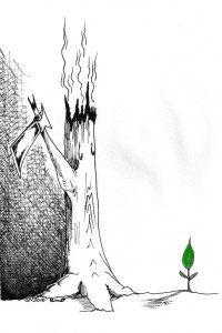 Axe Tree and the green bud political cartoon by Kaveh Adel