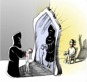 Mirror mirror next to the wall A political cartoon by Kaveh Adel