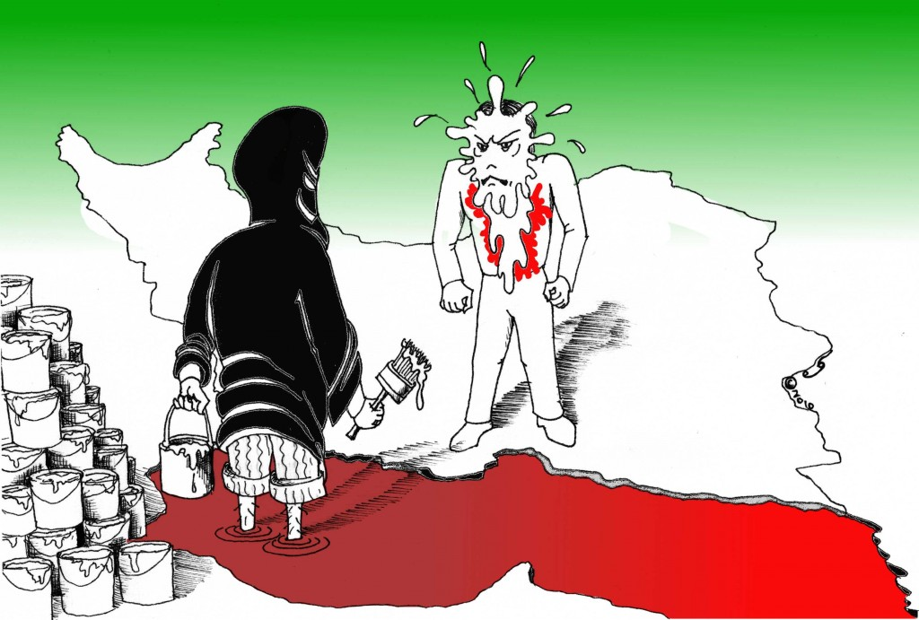 &quot;White Paint in the Face of A Nation&quot; A Political Cartoon by Kaveh Adel