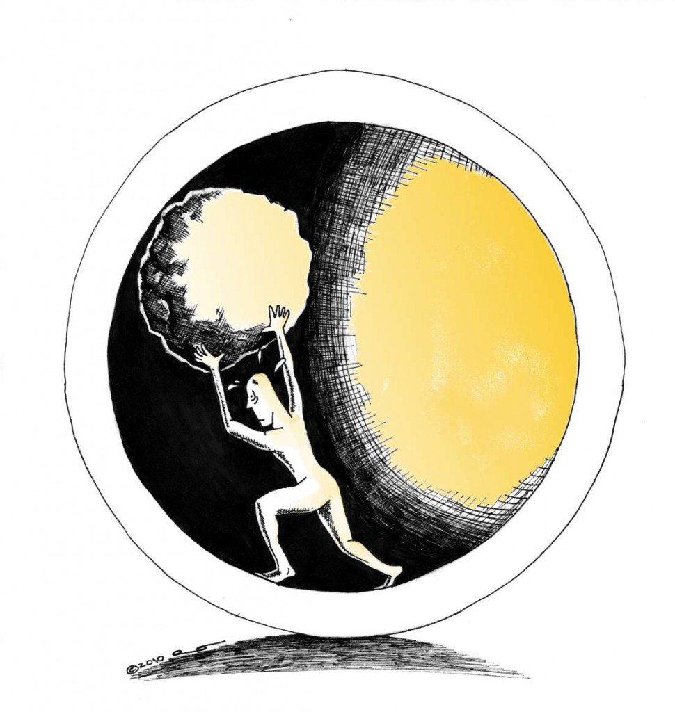 "Inspirational Human rights cartoon titled ""Sisyphus 2010"" by Kaveh Adel Copyright 2010"