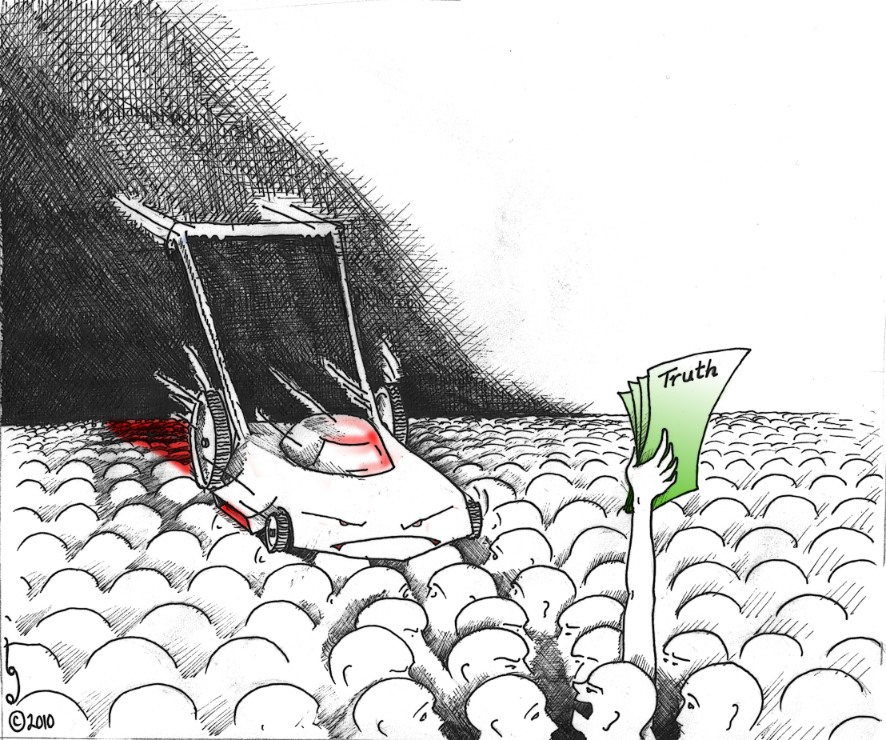 "Political Cartoon: ""Truth Mower"" by  Kaveh Adel Copyright 2010"