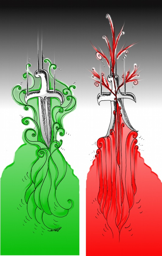 "Political Cartoon: ""Iran Green Wave and Red Tunisian wave"" Copyright 2011 Kaveh Adel"