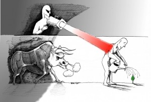 "Political Cartoon: ""Red Light and the Bull"" Copyright 2011 By ""Kaveh Adel"""
