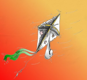 """Political Cartoon: """"The Decrepit Kite"""" Copyright 2011 by """"Kaveh Adel"""""""
