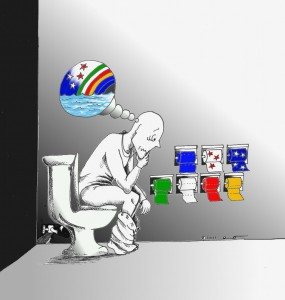 Political Cartoon: The Thinker and the Choices Copyright 2011 by Kaveh Adel