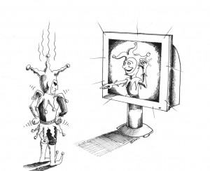 Political Cartoon: The jester mocks the Jester Copyright 2011 Kaveh Adel