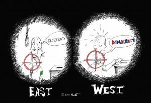 "Political Cartoon: ""Violence and threats target democracy"" Copyright 2011 Kaveh Adel"