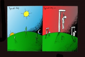 Political cartoon: typical day in... Copyright 2011 Kaveh Adel