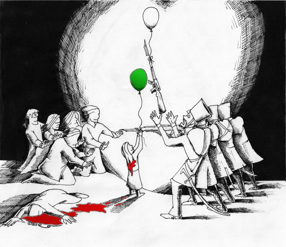 Political cartoon: Goya's Shooters Meet Iranian Masses  Copyright 2011 Kaveh