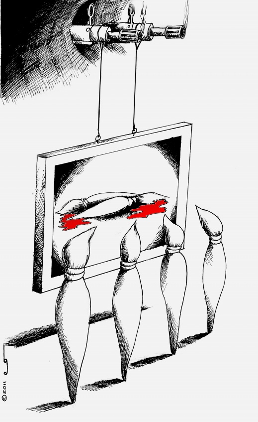 Political Cartoon: Hijacked Artxecution Copyright 2011 Kaveh Adel