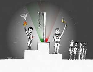 Political cartoon: New genocide Olympics by Kaveh adel copyright 2011