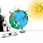 Environmental Cartoon: Earth's Intoxicated Reaction To Nukes Copyright 2011 Kaveh Adel