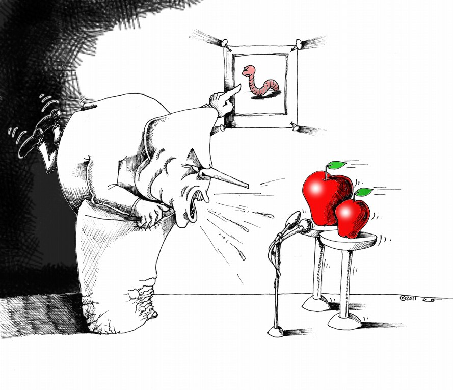 Political Cartoon: &quot;Extent of Radicalization in Apples&quot; Copyright 2011 &quot;Kaveh Adel&quot;