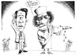 "Political Cartoon: ""Gaddhafi gives a Democracy lesson to Scott Walker "" Copyright2011 ""Kaveh Adel"""