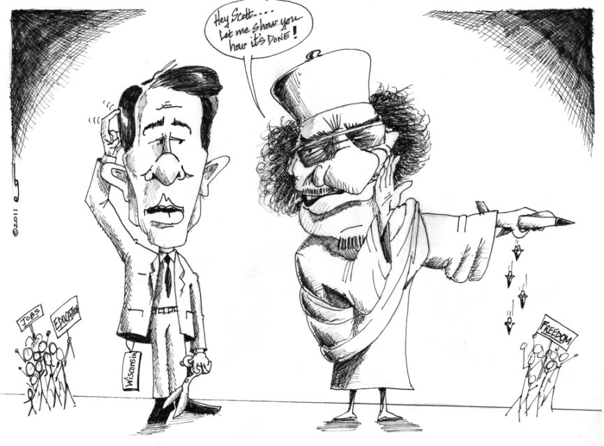 Link to Political Cartoon: Ghaddafi gives a Lesson in Democracy to Scott Walker