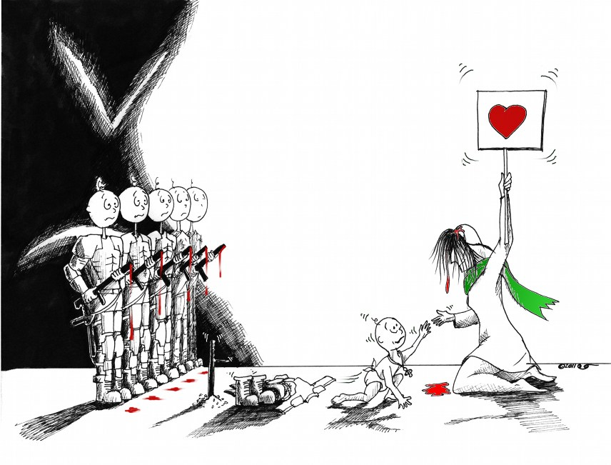 "Political Cartoon: ""Go Back to Mother while you still can"" Copyright 2011 ""Kaveh Adel"""