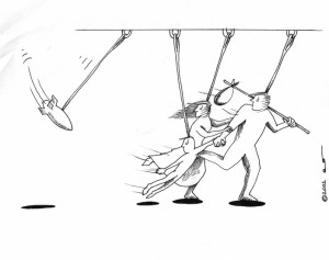 Kinetic Military Action Pendulum Political Cartoon Copyright 2011 Kaveh Adel