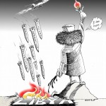 World Political cartoon: Libya damned if you do damned if you don't Copyright 2011 Kaveh Adel