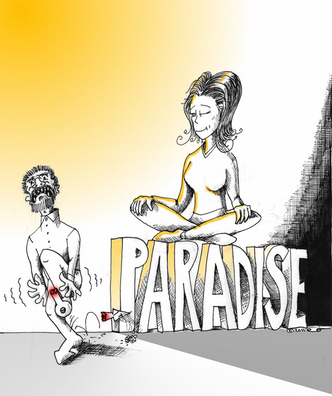 "Cartoon: ""Paradise Beneath Women's Feet Day"" Copyright 2011 ""Kaveh Adel"