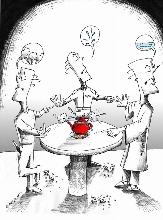 "Political Cartoon: ""Shall we have some tea?"" Copyright 2011 ""Kaveh Adel"""