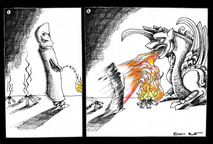Political Cartoon: Simorgh Approves Chahar Shanbeh Soori Copyright 2011 Kaveh Adel