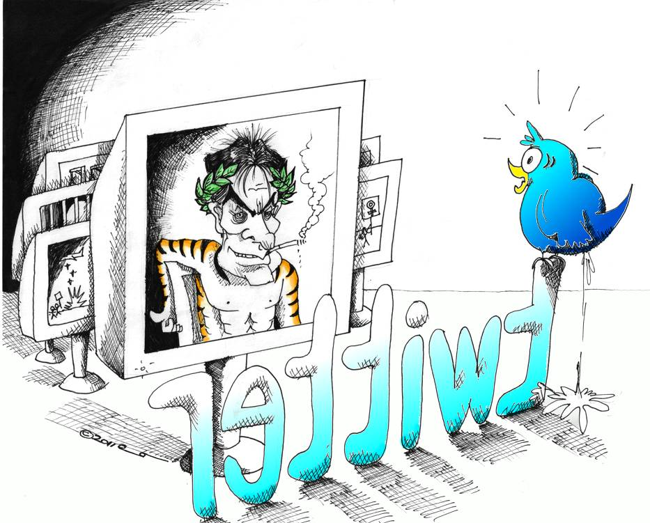 Cartoon: Watch out Twitter, here comes Tiger Blood and Adonis DNA Copyright 2011 Kaveh Adel