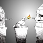 "Political Cartoon: ""Fire of Freedom Asylum Seeker"" Copyright 2011 by Cartoonist ""Kaveh Adel"""