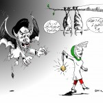 Iran Political Cartoon &quot;Attempt at Pure Bloodshed&quot; copyright 2011 by &quot;Cartoonist&quot; &quot;Kaveh Adel&quot;