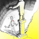 "Political Cartoon: ""The Idol We Build"" copyright 2011 by ""Kaveh Adel"""