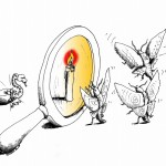 Political cartoon: &quot;A leader is born with a hiss&quot; copyright 2011 by &quot;Cartoonist&quot; &quot;Kaveh Adel&quot;