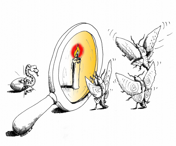 "Political cartoon: ""A leader is born with a hiss"" copyright 2011 by ""Cartoonist"" ""Kaveh Adel"""