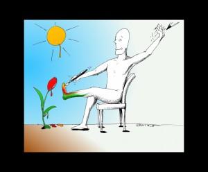 "Human Rights Cartoon: ""Self"" Portrait Copyright 2011 by Cartoonist Kaveh Adel"