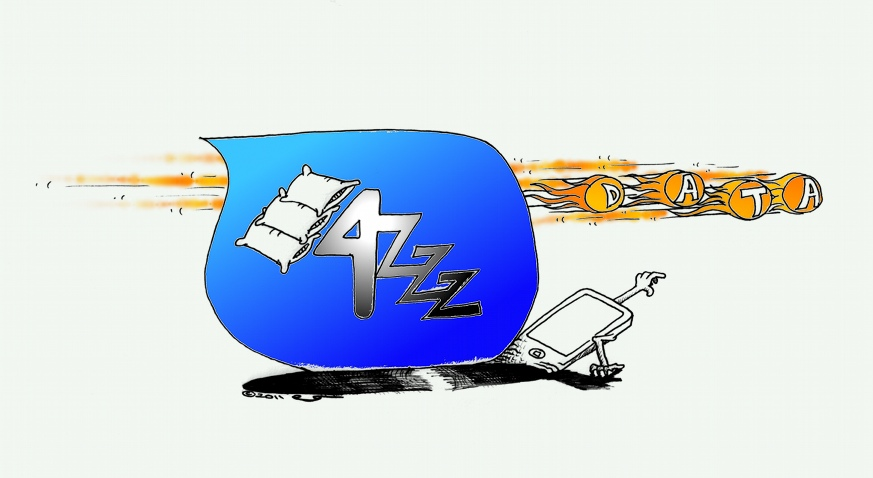 Technology Cartoon: 4G Network is a ZZZ for Data by Iranian American Cartoonist Kaveh Adel.
