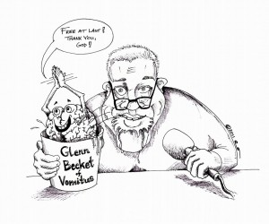Political Cartoon| Glenn Becket of Vomitus| copyright 2011| by | Iranian American Cartoonist| Kaveh Adel