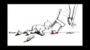 Political Cartoon Innocence Used by copyright 2011 by Iranian American Cartoonist Kaveh Adel