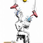 Political Cartoon Intellect Washing by copyright 2011 by Iranian American Cartoonist Kaveh Adel