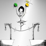 Political Cartoon Khatami's Swan Dance by copyright 2011 by Iranian American Cartoonist Kaveh Adel