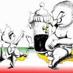 Political Cartoon| No Bottle for the Sorcerer Baby| copyright 2011| by| Iranian | American | Cartoonist| Kaveh Adel