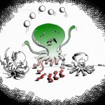 Political Cartoon Octopi Chopping by copyright 2011 by Iranian American Cartoonist Kaveh Adel