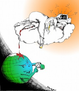 Cartoon Partying God Misses the Rapture by copyright 2011 by Iranian American Cartoonist Kaveh Adel
