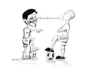 Political Cartoon: Ahmadinejad versus FIFA, Dictators and Colonialists!