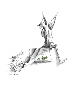 Political Cartoon Angel of Death Mourns the death of a Daughter by Iranian American Cartoonist Kaveh Adel Copyright 2011
