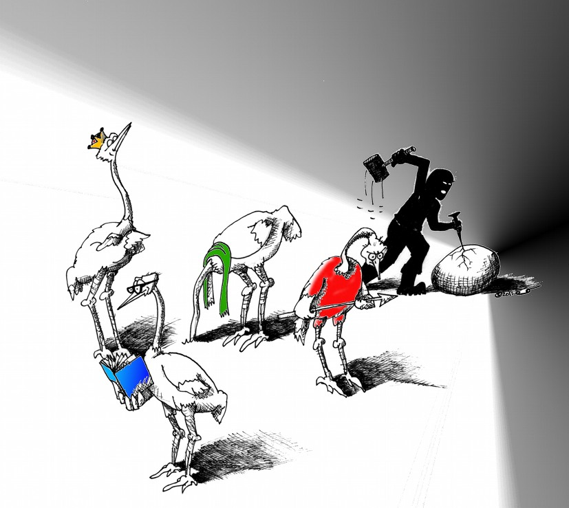 Political Cartoon One Egg, no worthy Ostriches by copyright 2011 by Iranian American Cartoonist Kaveh Adel
