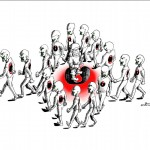 Political Cartoon Silent Scream by copyright 2011 by Iranian American Cartoonist Kaveh Adel