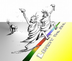 Political Cartoon and Liberty for All by copyright 2011 by Iranian American Cartoonist Kaveh Adel