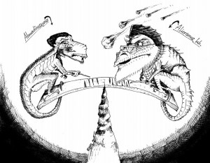Iran Political Cartoon Ahmadinosaurus versus Alioramus crossing the lines of extinction by copyright 2011 by Iranian American Cartoonist Kaveh Adel